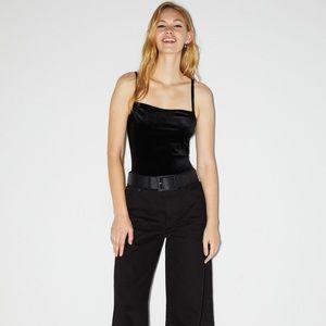 Bejeweled velvet bodysuit. NWT